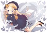 1girl abigail_williams_(fate) bangs black_bow black_dress black_footwear black_headwear blonde_hair blue_eyes bow dress fate/grand_order fate_(series) hair_bow hat highres holding holding_stuffed_toy long_hair looking_at_viewer multiple_bows nghbr orange_bow parted_bangs sleeves_past_wrists solo stuffed_animal stuffed_toy teddy_bear white_bloomers