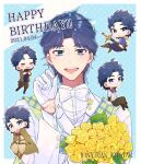 1boy :d absurdres blue_eyes blue_hair blush bouquet bow bowtie chibi dated flower formal gloves happy_birthday highres jojo_no_kimyou_na_bouken jonathan_joestar looking_at_viewer male_focus open_mouth phantom_blood scarf smile suit sword upper_body weapon white_gloves white_neckwear white_suit yellow_flower yofuke_(mu_yume)