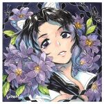 1girl black_hair butterfly_hair_ornament flower hair_ornament highres kimetsu_no_yaiba kochou_shinobu lips purple_flower sao_(saowee) solo traditional_media violet_eyes watercolor_(medium) wisteria