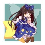 1girl :d bangs black_hair blue_bow blue_dress blue_neckwear blue_ribbon border bow brown_footwear brown_hair dress fairy_wings frilled_bow frills full_body green_background hair_bow hime_cut isu_(is88) juliet_sleeves long_hair long_sleeves looking_at_viewer neck_ribbon open_mouth pointing puffy_sleeves ribbon smile solo star_(symbol) star_print star_sapphire touhou white_border white_legwear wings
