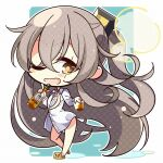1girl 7:08 alternate_costume bangs blush blush_stickers bottle brown_legwear commentary_request cup eyebrows_visible_through_hair full_body girls_frontline grey_hair hair_between_eyes hair_ornament highres holding holding_bottle holding_cup long_hair looking_at_viewer one_eye_closed open_mouth scar scar_across_eye shirt solo standing ump45_(girls_frontline) white_shirt