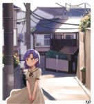 1girl artist_name backlighting bangs black_neckwear black_ribbon blurry blurry_background blush border braid collarbone commentary cowboy_shot dated day dress eyebrows_visible_through_hair flower house idolmaster idolmaster_million_live! looking_away manhole medium_hair myeolchi nanao_yuriko neck_ribbon orange_flower outdoors outside_border parted_lips plant potted_plant power_lines purple_hair ribbon road road_sign sailor_collar sailor_dress shiny shiny_hair short_sleeves sign signature solo standing street sunlight town utility_pole v_arms white_border white_dress white_sailor_collar yellow_eyes