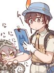 1boy 1girl backpack bag biting_arm brown_eyes brown_hair bucket_hat captain_(kemono_friends) collared_shirt commentary_request eyebrows_visible_through_hair gloves habu_(kemono_friends) hat hat_feather hood hoodie kemono_friends kemono_friends_3 khakis long_sleeves neckwear notebook print_hoodie shirt short_hair short_sleeves single_glove snake_print snake_tail tail tanaka_kusao translation_request uniform white_gloves yellow_eyes