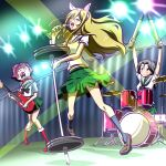 3girls animal_ears arms_up barbell black_neckwear blouse boots brown_hair cat_ears commentary drum drum_set electric_guitar eyepatch fake_animal_ears food freckles frown fruit girls_und_panzer glasses green_skirt grey_hair grin guitar hair_between_eyes hair_pulled_back hairband half-closed_eyes holding holding_instrument holding_microphone instrument jaw_drop kogane_(staygold) long_hair looking_at_another low_ponytail medium_skirt microphone microphone_stand midriff miniskirt momogaa_(girls_und_panzer) multiple_girls music neckerchief nekonyaa_(girls_und_panzer) night no_neckwear ooarai_school_uniform open_mouth peach pink_hairband piyotan_(girls_und_panzer) playing_instrument pleated_skirt ponytail red_footwear rimless_eyewear round_eyewear sailor_collar school_uniform short_hair short_sleeves singing skirt smile spotlight standing standing_on_one_leg sweatdrop tank_shell white_blouse white_sailor_collar