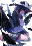 1girl bangs barefoot black_capelet black_hair black_skirt black_wings bow capelet collared_shirt crossed_arms feathered_wings fedora full_body geta glowing glowing_eyes hat hat_bow highres kneeling long_sleeves looking_at_viewer murayo open_mouth red_bow red_eyes red_nails red_neckwear shirt skirt solo tengu-geta touhou usami_renko white_bow white_shirt wings