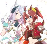 2girls animal_ears aqua_ribbon blue_eyes brown_hair commentary_request confetti cravat crop_top ear_bow gloves hat high_ponytail horse_ears horse_girl jewelry long_hair looking_at_viewer mejiro_mcqueen_(umamusume) midriff mini_hat misu_kasumi multicolored_hair multiple_girls navel necklace open_mouth puffy_short_sleeves puffy_sleeves ribbon short_sleeves silver_hair streaked_hair tokai_teio_(umamusume) two-tone_hair umamusume upper_body violet_eyes waving white_background white_gloves white_hair