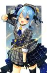 1girl absurdres amane_(amnk1213) ascot bangs beret black_choker black_legwear blue_eyes blue_hair blue_nails blue_neckwear bracelet choker commentary_request fingernails gloves hat highres hololive hoshimachi_suisei jacket jewelry looking_at_viewer nail_polish one_eye_closed open_mouth partially_fingerless_gloves plaid plaid_jacket single_thighhigh skirt solo star_(symbol) star_choker star_in_eye symbol_in_eye thigh-highs v virtual_youtuber wing_collar
