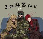 1girl 2boys ? ?? beard bikini bisexual_(male) black_bikini blonde_hair blue_eyes breasts brown_hair camouflage camouflage_jacket camouflage_pants crossed_legs eva_(mgs) eyepatch facial_hair gloves hat headband heart holster jacket jewelry medium_breasts medium_hair metal_gear_(series) metal_gear_solid_3 multiple_boys naked_snake necklace noriuma open_clothes pants partially_fingerless_gloves red_gloves red_headwear revolver_ocelot sitting sleeping sleeping_on_person swimsuit translation_request