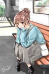 1girl ankle_boots bag bangs bench black_footwear blue_shirt blurry blurry_background blush boots brown_eyes brown_hair commentary_request concrete elbows_on_knees eyebrows_visible_through_hair grey_skirt hair_bun hair_up handbag hands_on_own_face highres leaning_forward looking_at_viewer mirror original parted_lips railroad_tracks shadow shirt signature sitting skirt sleeves_past_wrists solo soragane_(banisinngurei) stairs tactile_paving train_station utility_pole