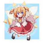 1girl :d ascot bangs black_footwear blue_background border bow dress fairy_wings fang full_body hair_ribbon headdress isu_(is88) looking_at_viewer open_mouth orange_hair red_dress red_ribbon ribbon short_hair simple_background smile solo sunny_milk touhou twintails w white_border white_bow white_legwear wide_sleeves wings yellow_neckwear