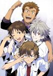 4boys aida_kensuke bag bangs black_jacket blue_eyes brown_eyes brown_hair freckles glasses grey_hair grin hair_between_eyes highres holding holding_bag ikari_shinji jacket male_focus multiple_boys nagisa_kaworu neon_genesis_evangelion one_eye_closed open_clothes open_mouth open_shirt pwpwap red_eyes round_eyewear school_uniform shirt short_sleeves simple_background smile suzuhara_touji white_shirt