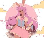 1girl basket bow buttons clouds dark_skin easter_egg egg frills gloves highres linmiee lipstick long_hair makeup moon purple_hair reisen_udongein_inaba skirt solo star_(symbol) tan touhou very_long_hair white_gloves