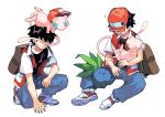 1boy backpack badge bag bangs baseball_cap belt belt_buckle black_hair black_shirt brown_bag buckle buttons closed_mouth collarbone commentary_request gen_1_pokemon hat hatted_pokemon highres jacket kneeling male_focus mew mythical_pokemon newo_(shinra-p) oddish on_head open_clothes open_jacket pants pokemon pokemon_(creature) pokemon_(game) pokemon_on_head pokemon_rgby red_(pokemon) shirt shoes short_sleeves spread_legs