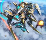 clouds explosion firing flying highres looking_down mecha moyashi_(karamisouma) no_humans original photo_background science_fiction sky solo