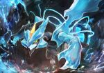 absurdres artist_name black_kyurem blue_theme claws colored_sclera commentary crystal day_walker1117 dragon english_text gen_5_pokemon green_eyes highres ice kyurem legendary_pokemon no_humans open_mouth pokemon pokemon_(creature) sharp_teeth signature solo teeth wings yellow_sclera