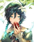 1boy androgynous apple bangs beret black_hair blue_hair bow braid brooch cape collared_cape doid070 eating eyebrows_visible_through_hair feathers flower food frilled_sleeves frills fruit gem genshin_impact gradient_hair green_eyes green_headwear hair_flower hair_ornament hat highres holding holding_food holding_fruit jewelry leaf long_sleeves looking_to_the_side male_focus multicolored_hair open_mouth short_hair_with_long_locks solo sparkle twin_braids venti_(genshin_impact) white_flower
