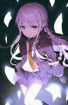 1girl absurdres bangs black_footwear black_gloves black_jacket black_ribbon boots braid brown_neckwear collared_shirt commentary_request danganronpa:_trigger_happy_havoc danganronpa_(series) feet_out_of_frame frown gloves hair_ornament hair_ribbon highres jacket kirigiri_kyouko knee_boots long_hair looking_at_viewer miniskirt multicolored multicolored_background necktie open_clothes open_jacket pleated_skirt purple_hair purple_skirt ribbon shirt side_braid single_braid skirt solo usanta violet_eyes white_shirt