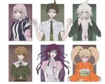 3boys 3girls :o ahoge animal_bag apron backpack bag bandaged_arm bandages bangs black_jacket black_shirt blonde_hair blush_stickers bow breast_pocket breasts brown_eyes brown_hair brown_skirt cat_bag cat_hair_ornament collarbone collared_shirt cropped_torso danganronpa:_trigger_happy_havoc danganronpa_(series) danganronpa_2:_goodbye_despair derivative_work dress_shirt flipped_hair foreshortening frown fujisaki_chihiro furisode green_jacket green_neckwear hair_bow hair_ornament hands_up highres hinata_hajime hood hood_down hooded_jacket jacket japanese_clothes kimono komaeda_nagito large_breasts light_brown_hair long_hair long_sleeves medium_breasts multiple_boys multiple_girls nanami_chiaki neck_ribbon necktie nurse open_clothes open_jacket open_mouth orange_eyes orange_kimono otoko_no_ko outstretched_arm pink_eyes pink_ribbon pink_shirt pleated_skirt pocket print_shirt puffy_short_sleeves puffy_sleeves purple_hair ribbon saionji_hiyoko school_uniform shirt shirt_tucked_in short_hair short_sleeves skirt tearing_up tsumiki_mikan twintails upper_body upper_teeth vo1ez white_background white_shirt