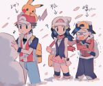 1girl 2boys ? arrow_(symbol) backpack bag bangs baseball_cap beanie black_eyes black_hair black_legwear black_pants boots clenched_hands closed_mouth cold commentary_request crossed_arms dawn_(pokemon) denim duffel_bag ethan_(pokemon) eyelashes gen_1_pokemon hair_ornament hairclip hat hinann_bot jacket jeans long_hair long_sleeves looking_back multiple_boys musical_note on_head open_mouth over-kneehighs pants pikachu pokemon pokemon_(creature) pokemon_(game) pokemon_dppt pokemon_hgss pokemon_on_head red_(pokemon) red_scarf scarf shirt short_sleeves smile snow snow_sculpture snowing standing t-shirt thigh-highs tongue translation_request trembling vs_seeker wristband yellow_bag