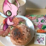 antennae bread celebi coffee commentary_request cup day_walker1117 fairy fairy_wings floating food full_body gen_2_pokemon green_eyes hand_up holding holding_food legendary_pokemon meat melon_bread mug mythical_pokemon open_mouth photo_background plate pokemon pokemon_(creature) salad solo table wings