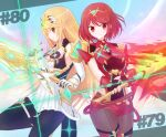 2girls aegis_sword_(xenoblade) black_gloves black_legwear blush breasts chest_jewel closed_mouth cowboy_shot disconnected_mouth dress earrings eyebrows_visible_through_hair fingerless_gloves gloves grey_legwear holding holding_sword holding_weapon jewelry large_breasts leg_up legwear_under_shorts long_hair multiple_girls mythra_(xenoblade) number orange_eyes pantyhose pyra_(xenoblade) red_eyes red_shorts redhead short_dress short_hair short_shorts shorts sideways_mouth smile super_smash_bros. suta_(clusta) sword thigh_strap tiara very_long_hair weapon xenoblade_chronicles_(series) xenoblade_chronicles_2