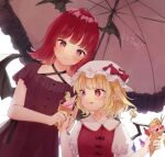 2girls alternate_costume bat_wings blonde_hair bow commentary_request commission dress flandre_scarlet food hat hat_bow head_wings holding holding_food honotai ice_cream koakuma licking_lips medium_hair mob_cap multiple_girls pointy_ears puffy_short_sleeves puffy_sleeves red_bow red_dress red_eyes redhead short_sleeves simple_background tongue tongue_out touhou umbrella white_background white_headwear wings