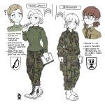 2girls blonde_hair blue_eyes book boots brown_eyes brown_hair camouflage camouflage_jacket camouflage_pants character_name english_text full_body highres holding jacket long_sleeves military military_rank_insignia military_uniform multiple_girls multiple_views notebook original ostwindprojekt pants partially_colored pen sandals short_hair simple_background smile sweater uniform white_background