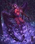 1boy armor artist_name black_wings bleeding blood bloody_clothes claws fangs fantasy flower forest glowing greaves helmet highres holding_own_arm injury leevolt long_fingers male_focus monster nature night open_mouth original outdoors pauldrons purple_flower reflection sharp_teeth shoulder_armor single_pauldron talons teeth torn torn_clothes transformation tree wings