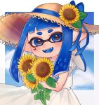 1girl aoaza_83 artist_name bangs blue_eyes blue_hair blue_ribbon blue_tongue blunt_bangs blunt_ends brown_headwear clouds cloudy_sky colored_tongue day domino_mask dress fangs flower hat hat_flower hat_ribbon highres holding holding_flower inkling looking_at_viewer mask medium_hair open_mouth outdoors outside_border pointy_ears ribbon sky smile solo splatoon_(series) standing straw_hat sun_hat sundress sunflower symbol_commentary tentacle_hair white_dress