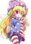 1girl american_flag american_flag_legwear american_flag_shirt bangs blonde_hair breasts closed_mouth clownpiece cowboy_shot eyebrows_visible_through_hair fairy_wings frilled_shirt_collar frills hair_between_eyes hat isu_(is88) jester_cap leggings long_hair looking_at_viewer neck_ruff pantyhose pink_eyes polka_dot polka_dot_headwear purple_headwear shirt simple_background small_breasts smile solo standing star_(symbol) star_print striped striped_legwear striped_shirt touhou white_background wings