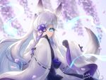 1girl absurdres animal_ears aqua_eyes azur_lane black_gloves blurry commentary_request depth_of_field eyebrows_visible_through_hair fox_ears fox_girl fox_tail gloves hair_ornament hair_over_one_eye highres hitodama japanese_clothes kasumi_(azur_lane) kurono_hyouka long_hair looking_at_viewer petals sidelocks signature solo tail twitter_username white_hair wide_sleeves