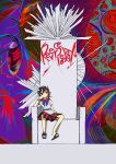 1girl abstract_background arrow_(symbol) black_hair blue_neckwear hanging_legs head_rest highres horns kijin_seija looking_to_the_side multicolored_hair neruzou sandals shirt short_hair short_sleeves sitting skirt solo throne touhou white_shirt