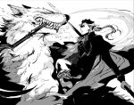 1boy 1other alternate_costume angry blue_hair closed_mouth cu_chulainn_(fate)_(all) fangs fate/grand_order fate/stay_night fate_(series) floating_hair holding holding_polearm holding_weapon lancer lobo_(fate) long_hair male_focus monochrome polearm ponytail riding shibanui smoke spiky_hair weapon wolf
