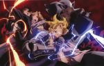 alphonse_elric armor automail black_hair blonde_hair blood blood_on_face bones_(company) edward_elric electricity energy fire folded_ponytail full_armor fullmetal_alchemist gloves gun official_art prosthesis prosthetic_arm pyrokinesis riza_hawkeye roy_mustang short_hair tied_hair weapon white_gloves yellow_eyes
