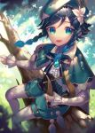 1boy androgynous bangs beret black_hair blue_eyes blue_hair blurry blurry_background bow braid brooch cape collared_cape commentary_request day eyebrows_visible_through_hair feathers flower gem genshin_impact gradient_hair green_eyes green_headwear green_shorts hair_flower hair_ornament hat highres holding holding_instrument in_tree instrument jewelry leaf long_sleeves looking_at_viewer lyre male_focus multicolored_hair open_mouth outdoors pantyhose pinwheel raymond_busujima shirt short_hair_with_long_locks shorts sitting sitting_in_tree smile solo tree tree_branch twin_braids venti_(genshin_impact) white_flower white_legwear white_shirt