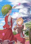 >_< 2girls arm_up ascot black_ribbon blonde_hair blue_sky bow bowtie brown_footwear brown_shirt brown_skirt closed_eyes clouds collared_shirt commentary_request day dripping fairy_wings faucet forest frilled_skirt frills green_hair hair_ribbon hand_on_hip highres holding_on kazami_yuuka lightning long_sleeves looking_afar looking_up medicine_melancholy mountain multiple_girls nature one_eye_closed open_mouth outdoors petals plaid plaid_skirt plaid_vest puffy_short_sleeves puffy_sleeves red_neckwear red_ribbon red_shirt red_skirt red_vest ribbon ribbon-trimmed_shirt ribbon-trimmed_skirt ribbon_trim shirt short_hair short_sleeves skirt sky standing storm su-san takeyoshi_(albizia) thighs tornado touhou tree vest water white_shirt wind wings yellow_neckwear