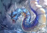 absurdres animal_focus blue_theme bubble commentary day_walker1117 fangs from_behind gen_1_pokemon gyarados highres looking_to_the_side no_humans open_mouth outdoors pokemon pokemon_(creature) red_eyes solo tongue water