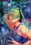 1girl bangs black_hair braid braided_bun braided_ponytail double_bun green_eyes green_hair green_lips hair_bun hair_cones halter_top halterneck hankuri hungry_clicker jojo_no_kimyou_na_bouken kujo_jolyne lipstick looking_to_the_side makeup multicolored_hair solo stand_(jojo) stone_free stone_ocean two-tone_hair