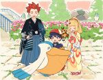 1boy 2girls bangs black_hair blonde_hair blush closed_eyes commentary_request floral_print gen_3_pokemon gen_7_pokemon hair_ornament hand_on_hip hands_together hands_up hat ittumozzz japanese_clothes kimono lance_(pokemon) lillie_(pokemon) long_sleeves multiple_girls open_mouth outdoors pelipper pleated_skirt pokemon pokemon_(creature) pokemon_(game) pokemon_masters_ex pokemon_ranger_(pokemon) ponytail pouch red_headwear redhead ribombee short_hair skirt smile spiky_hair stairs standing tabi wide_sleeves yellow_kimono zipper_pull_tab |d