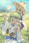 absurdres bangs blonde_hair blue_skirt blue_sky breasts brown_footwear carrying collared_shirt commentary_request cowboy_shot day detached_sleeves field frog_hair_ornament full_body gohei green_eyes green_hair hair_between_eyes hair_ornament hair_tubes hakonnbo hat highres kochiya_sanae long_hair long_sleeves looking_at_another looking_at_viewer medium_breasts medium_hair moriya_suwako nontraditional_miko open_mouth outdoors parted_bangs purple_skirt purple_vest shirt shoes shoulder_carry skirt skirt_set sky sleeveless sleeveless_shirt smile snake_hair_ornament socks touhou turtleneck vest white_legwear white_shirt wide_sleeves
