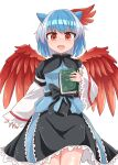 1girl :d bangs black_bow black_capelet black_skirt blue_hair blue_shirt blush bow breasts bright_pupils capelet chups commentary_request cowboy_shot eyebrows_visible_through_hair feathered_wings head_wings highres horns long_sleeves looking_at_viewer multicolored_hair nose_blush open_mouth orange_eyes red_wings shirt short_hair silver_hair simple_background single_head_wing skirt sleeves_past_wrists small_breasts smile solo standing streaked_hair tokiko_(touhou) touhou white_background white_pupils wide_sleeves wings