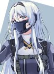 1girl 3_small_spiders an-94_(girls_frontline) bangs blue_eyes blush eyebrows_visible_through_hair girls_frontline hair_between_eyes hairband highres long_hair looking_at_viewer respirator silver_hair solo two-tone_background upper_body