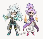 1boy 1girl belt blaze_the_cat boots bracelet closed_mouth coat fire flame frown fur-trimmed_boots fur-trimmed_sleeves fur_trim gloves glowing grey_background grey_coat hair_between_eyes highres jewelry long_hair open_hands personification pink_footwear purple_belt purple_coat purple_hair signature silver_hair silver_the_hedgehog simple_background smile sonic_(series) standing tsukikage_(tsuki_s_0623) white_gloves yellow_eyes