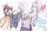 3girls ahoge aran_sweater bangs bendy_straw black-framed_eyewear black_hoodie black_skirt blue_eyes blue_hair book braid brown_pants character_request collarbone commentary_request cup disposable_cup drinking_straw eyebrows_visible_through_hair fuyuno_yuuki glasses grey_sweater hairband hand_in_pocket hand_up high-waist_pants holding holding_book holding_cup hood hood_down hoodie long_hair long_sleeves multiple_girls open_mouth oshiro_project_re pants petals pleated_skirt puffy_long_sleeves puffy_sleeves red_hairband semi-rimless_eyewear short_eyebrows skirt sweater thick_eyebrows thigh-highs twin_braids under-rim_eyewear very_long_hair white_legwear
