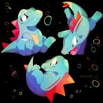 air_bubble bubble closed_eyes closed_mouth commentary_request fang fang_out gen_2_pokemon highres jacknaiff multiple_views no_humans pokemon pokemon_(creature) red_eyes sharp_teeth smile starter_pokemon teeth toes totodile watermark