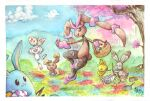 absurdres alternate_color azumarill basket beak buck_teeth buneary bunnelby easter easter_egg egg exeggcute flower gen_1_pokemon gen_2_pokemon gen_3_pokemon gen_4_pokemon gen_6_pokemon gen_8_pokemon grass highres huge_filesize jumping lopunny mega_lopunny mega_pokemon mellonsnow mountain mountainous_horizon no_humans open_mouth paint paint_can paintbrush pokemon pokemon_(creature) round_teeth scorbunny shiny_pokemon smile teeth torchic tree