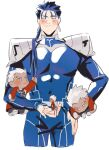 1boy archer_(fate) armor blue_hair blush character_doll chibi closed_eyes cu_chulainn_(fate)_(all) doll fate/stay_night fate_(series) holding holding_doll lancer ponytail smile solo stuffed_toy