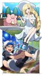 1boy 1girl :d black_footwear black_hair black_shorts blonde_hair blue_headwear blush border braid braided_ponytail chair clefairy clouds cup day dolustoy dress eating flower food gen_1_pokemon gen_7_pokemon grass green_eyes guzma_(pokemon) hand_up hat highres holding holding_pokemon long_hair lusamine_(pokemon) open_mouth outdoors picnic_basket pokemon pokemon_(creature) pokemon_(game) pokemon_sm puffy_sleeves sandwich shiny shiny_hair shoes short_sleeves shorts sitting sky smile sun sun_hat sweat table teeth tongue tree visor_cap white_border white_dress white_footwear white_hair wimpod younger