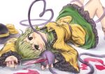 1girl bangs blood bloody_knife breasts closed_mouth collared_shirt commentary_request eyeball feet_out_of_frame frilled_sleeves frills green_eyes green_hair green_skirt hakonnbo hat hat_removed headwear_removed heart heart_of_string highres holding holding_knife knife komeiji_koishi long_sleeves looking_at_viewer lying medium_breasts mouth_hold on_back ribbon shirt short_hair skirt solo third_eye touhou wavy_hair white_background wide_sleeves yellow_ribbon yellow_shirt