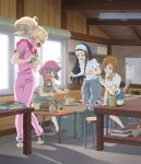 4girls ahoge aoki_tooko apron bangs black_footwear black_hair blonde_hair blue_eyes blunt_bangs blush book bow bowtie box brown_eyes brown_footwear brown_hair brush cellphone chair clay clothes_around_waist clubroom cup eyebrows_visible_through_hair forehead from_side green_apron green_eyes hair_ornament hair_scrunchie hairband highres holding holding_phone holding_toy indoors kappa key_visual knees_together_feet_apart kukuri_mika lamp leaning_forward loafers long_hair looking_at_another looking_at_object looking_back medium_hair miniskirt mug multicolored_hair multiple_girls naruse_naoko nervous_smile official_art open_mouth over-rim_eyewear pantyhose phone pink_hair pink_hood pink_overalls pink_scrunchie plaid plaid_skirt pleated_skirt ponytail potters_wheel pottery purple_hair raised_eyebrows red-framed_eyewear red_eyes school_uniform scrunchie semi-rimless_eyewear shadow shelf shirt shoes short_hair short_sleeves sideways_mouth sitting skirt smartphone sneakers stool surprised sweater sweater_around_waist taking_picture toy toyokawa_himeno white_hairband white_shirt window wooden_table wooden_wall yakunara_mug_cup_mo yellow_bow yellow_neckwear